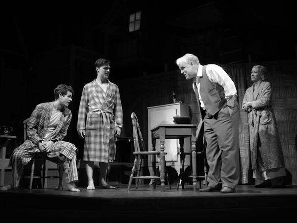 Andrew Garfield (left) stars opposite Finn Wittrock, Philip Seymour Hoffman and Linda Emond in Mike Nichols' revival of Arthur Miller's <em>Death of a Salesman</em>.