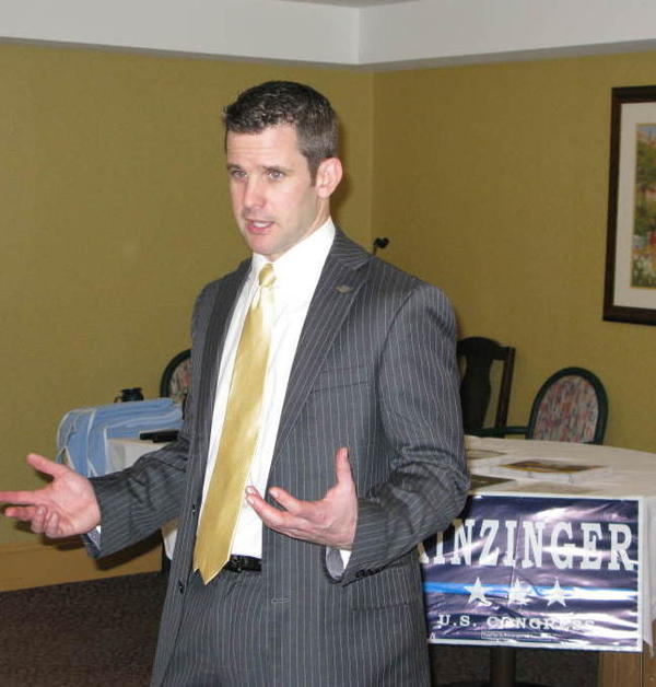 Freshman Rep. Adam Kinzinger speaks to residents and staff at the Pine Acres Rehab and Living Center in Dekalb, Ill.