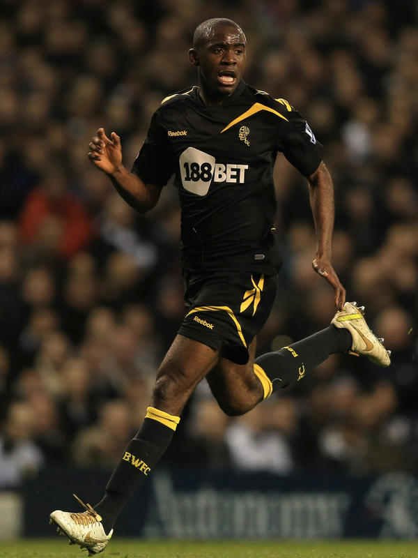 Fabrice Muamba of Bolton Wanderers in action during the FA Cup Sixth Round match on Saturday. Muamba collasped during the game and remains hospitalized.