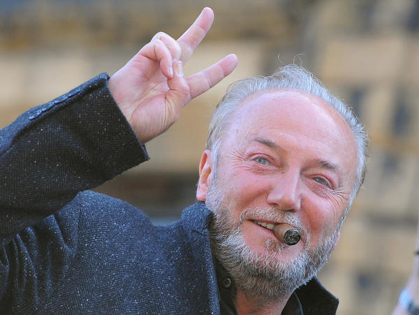 British politician George Galloway celebrated today after winning the Bradford West by-election in northern England.
