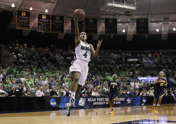 Notre Dame guard Skylar Diggins goes up during the second round of NCAA women's tournament basketball in a game against California.