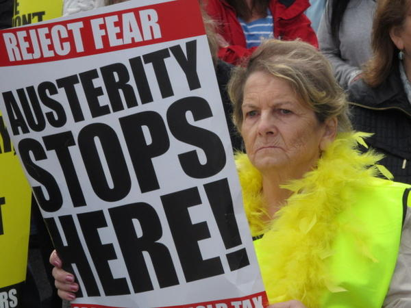 Phyllis O'Toole joined an estimated 5,000 demonstrators in the streets of Dublin on Saturday (March 31, 2012).