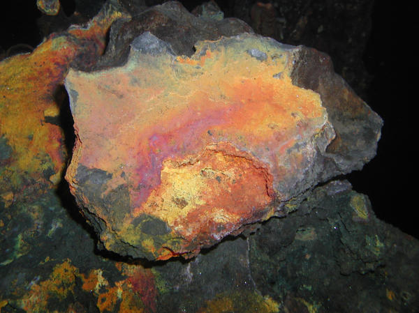 This deep-sea rock is rich in copper. Minerals form in the seafloor because a natural hot spring has been laying them down for thousands of years.
