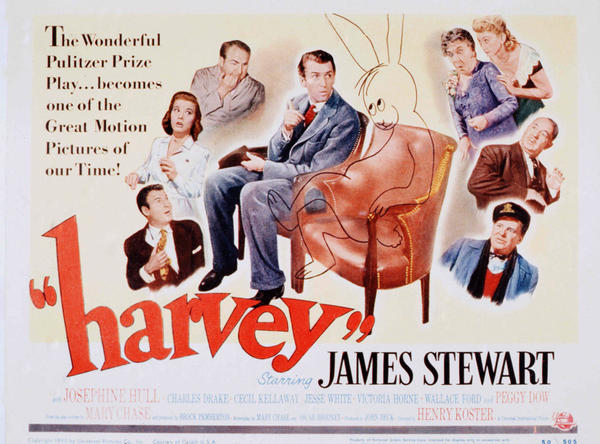 A poster from the 1950 Universal movie <em>Harvey</em>, starring James Stewart.