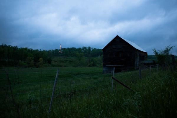 Burgettstown is located in a rural corner of southwest Pennsylvania. In the distance, lights mark a new gas well that's being drilled near the Cornerstone clinic.