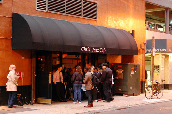 The scene outside Chris' Jazz Cafe on Sansom Street, after the last afternoon set and before Sean Jones' headlining performances.