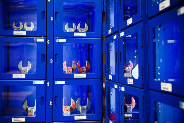 At the Gamesa plant, workers can check wrenches and other tools from these vending machines.