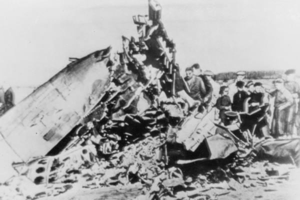 People inspect the remains of the U-2 spy plane flown by American pilot Francis Gary Powers, which was shot down over Soviet airspace on Aug. 6, 1960.