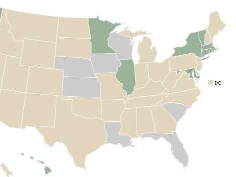 A map of the U.S. shows the states that have declined to expand Medicaid after the Supreme Court's decision on the Accountable Care Act.