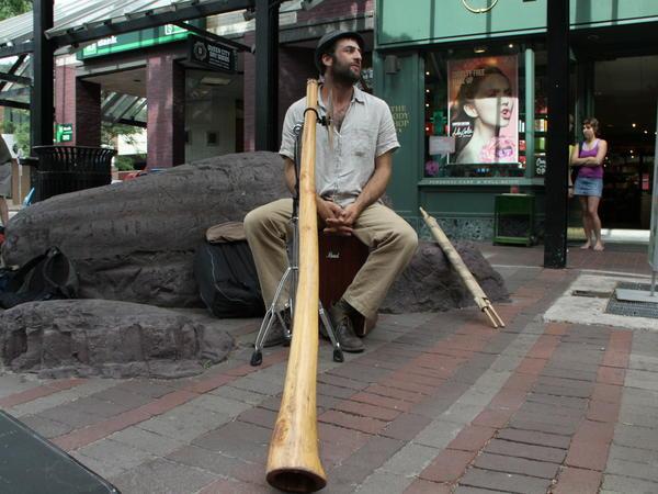 "Michael ""Tree"" Sampson plays the didgeridoo on the streets of Burlington, Vt."