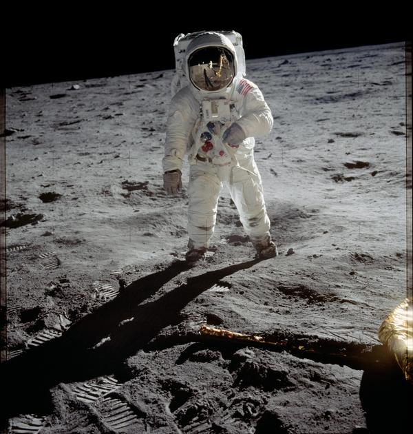 "Astronaut Edwin E. ""Buzz"" Aldrin — lunar module pilot for the Apollo 11 mission — walks on the moon in July 1969."