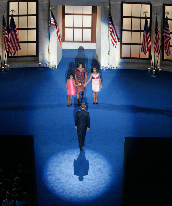 Then-nominee Barack Obama's speech at the 2008 Democratic National Convention, at Invesco Field at Mile High in Denver, Colo., was carefully staged against a backdrop of classical pillars.