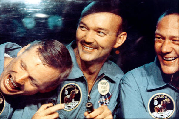 Armstrong (left), Collins (center) and Aldrin after the Apollo 11 mission in a shot from the 2007 film <em>In the Shadow of the Moon</em>.
