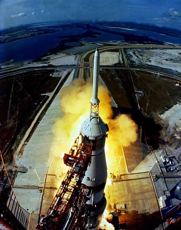 The huge, 363-foot tall Apollo 11 Spacecraft is launched from Kennedy Space Center July 16, 1969.