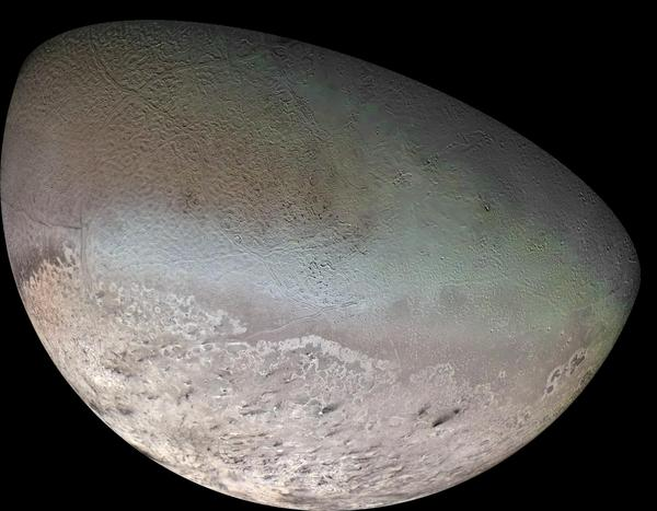 In addition to surveying the planets, the Voyager mission also spent time studying the planets' satellites, or moons. This mosaic image, taken in 1989, shows Neptune's largest satellite, Triton. Triton has the coldest surface temperature known anywhere in the solar system.