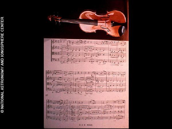 Violin with music score (Cavatina)