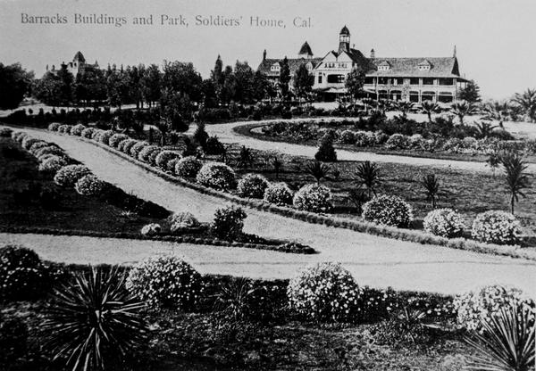 """""""Barracks Buildings and Park"""" are seen in this vintage postcard from the Old Soldiers Home."""