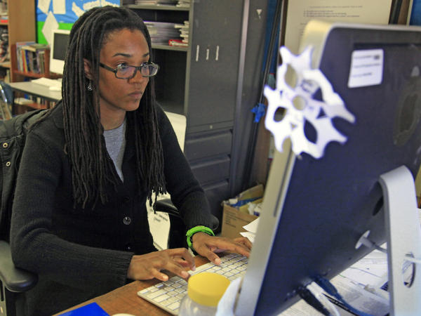 Nkomo Morris, a teacher at Brooklyn's Art and Media High School, stays in touch with current and former students through social media.