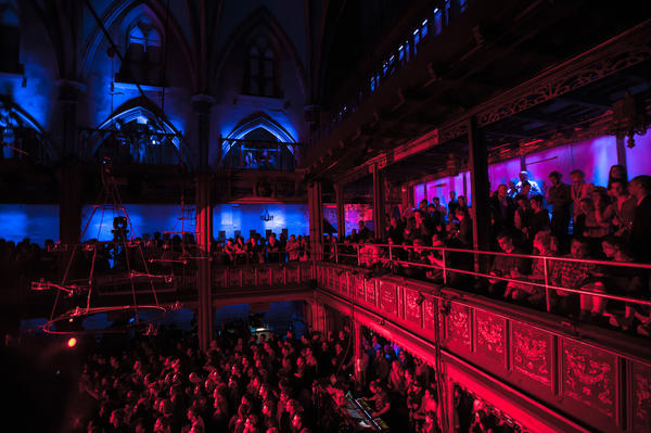 The audience filled three levels in the intimate, 300-person capacity venue.