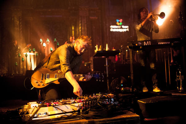 """Bon Iver closed the set with """"The Wolves, Act I and II,"""" leading the audience in a singalong of the refrain """"What might have been lost"""" that continued well after he left the stage."""