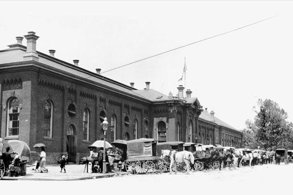 Eastern Market in Washington, D.C. was completed in 1873 and designed by German-born architect Adolf Cluss.