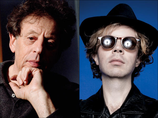 Philip Glass (left) and Beck.