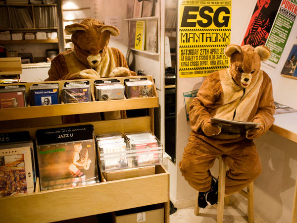 The 2 Bears' Joe Goddard and Raf Daddy in their natural habitat: the record store.