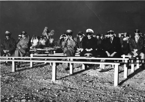 NATO observers attend the Boltzmann Event detonation on May 28, 1957, at Nevada Test Site. The detonation was part of Operation Plumbbob.
