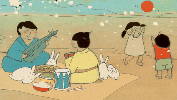 Illustrated by Kristiana Parn, the booklet for <em>Rabbit Days and Dumplings</em> contains notes about each song and its East Asian origins, written by Elena Moon Park.