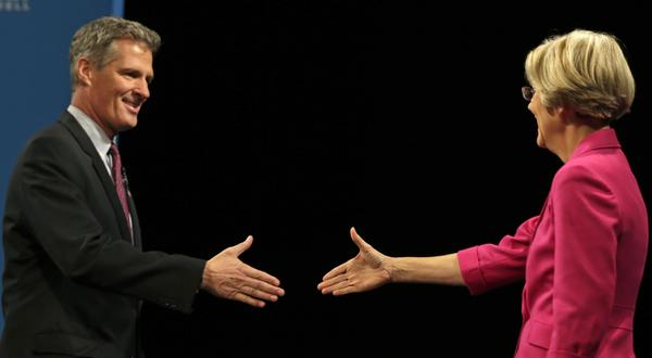 Sen. Scott Brown, R-Mass., shakes hands with Democratic challenger Elizabeth Warren at their Oct. 1 debate in Lowell, Mass. The race is one of a handful of contests that could determine party control of the Senate.