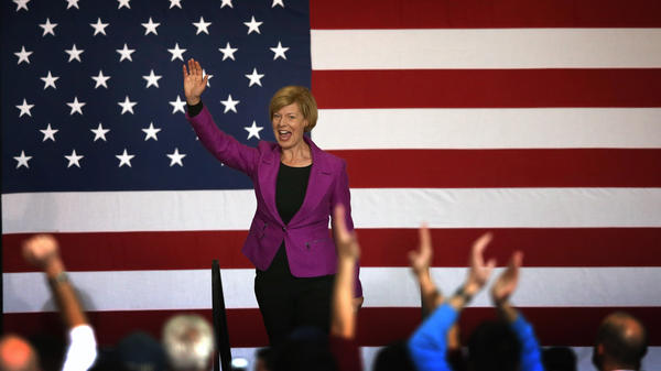 Congresswoman Tammy Baldwin greets supporters at a campaign rally for President Obama on Nov. 3 in Milwaukee. Baldwin became the first openly gay candidate to win a U.S. Senate seat.
