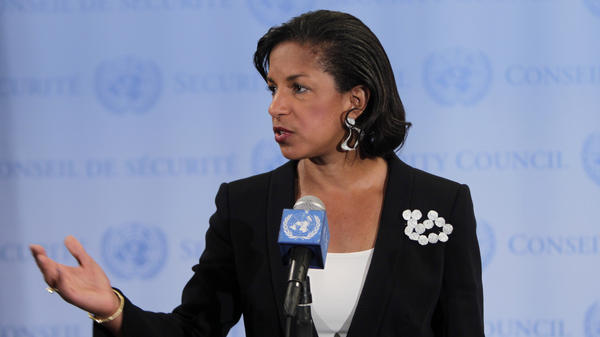 Susan Rice, the U.S. ambassador to the United Nations, speaks to the media at U.N. headquarters in April.