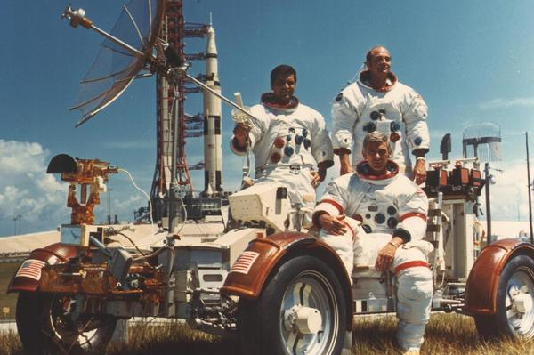 """Apollo 17 was the sixth and final Apollo mission to the moon. Here, lunar module pilot Harrison """"Jack"""" Schmitt, Cmdr. Eugene Cernan and command module pilot Ron Evans pose in the lunar vehicle."""
