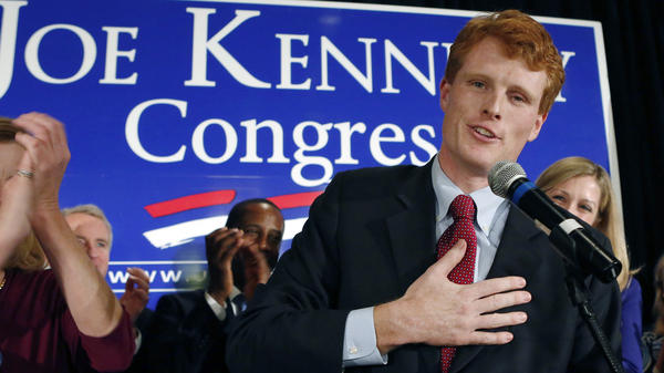 Joseph Kennedy III, son of former Rep. Joseph Kennedy II and grandson of the late Robert F. Kennedy, delivers his victory speech on Nov. 6 in Newton, Mass.
