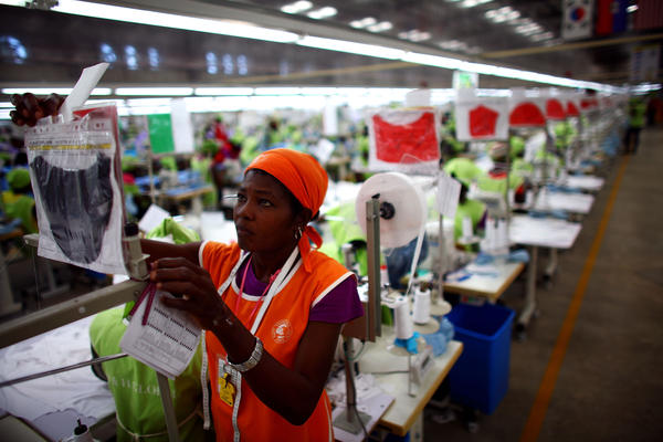 The anchor tenant of the Caracol Industrial Park is the Korean clothing giant SAE-A. Employees make T-shirts that will be shipped to a discount retailer in the United States.