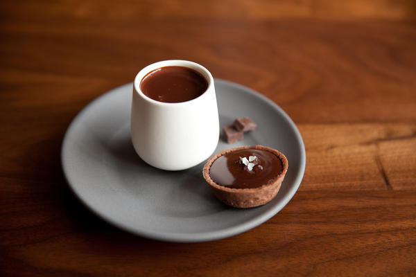 Is it chocolate yet? Customers can test the finished product on the spot at Dandelion Chocolate's storefront cafe.