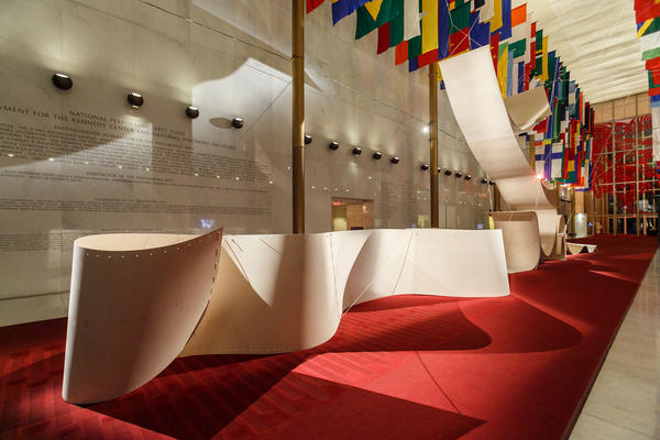The Hall of Nations is transformed by a plywood installation called <em>Sup-Plywood,</em> or <em>How to Be Singular in the Plural</em>. Plywood is one of the most used materials in Nordic design. The installation was created by the Norwegian architecture firm Snohetta.