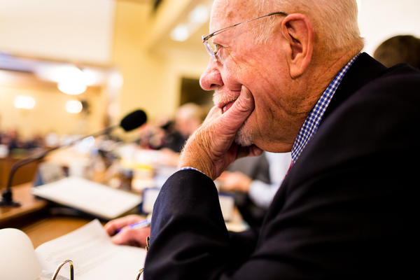 Risser listens during a committee meeting at the state Capitol. He has seen the Legislature change over the decades from a body made up exclusively of white men to one that includes women and minorities.
