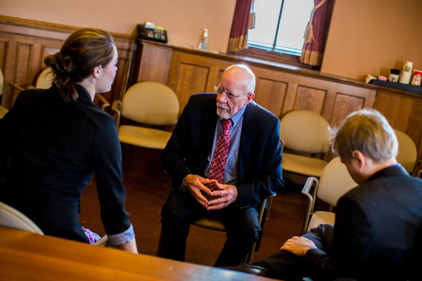 """""""The Legislature is more polarized than I've ever seen it,"""" Risser says. """"There are more straight party-line votes than there have ever been."""" Here, he meets with constituents about upcoming bills."""