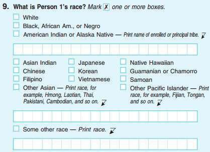 """The U.S. Census has allowed respondents to select multiple races since 2000, as in this screen grab of the <a href=""""http://www.census.gov/2010census/pdf/2010_Questionnaire_Info.pdf"""">2010 form</a>."""