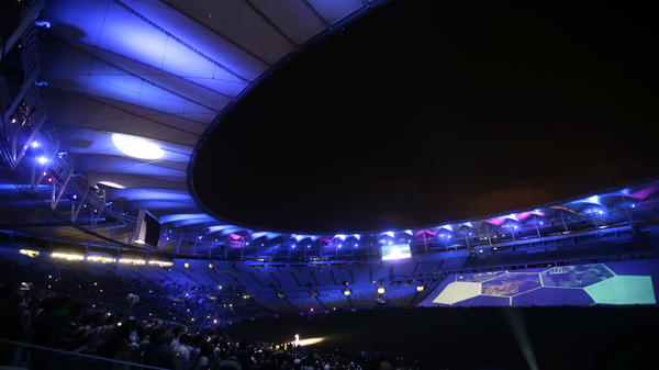 """The renovated Maracana stadium hosts a game by the teams """"Friends of Bebeto"""" and """"Friends of Ronaldo"""" during the stadium's inauguration in Rio de Janeiro on Saturday."""