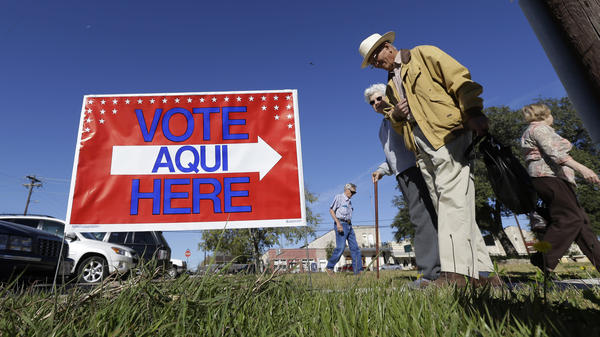 Voters leave the Old Blanco Courthouse in Blanco, Texas, after casting their ballots in November 2012. Democrats hope demographics and a new organizational push give them a brighter future in Texas.