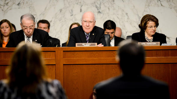 Senate Judiciary Chairman Patrick Leahy, D-Vt. (center), listens to testimony during a hearing on the immigration bill on April 22.