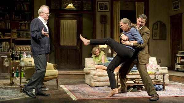Tracy Letts (left) and Amy Morton (being restrained by Madison Dirks as Carrie Coon looks on) played the perennially sparring partners George and Martha in this season's wildly acclaimed Broadway revival of <em>Who's Afraid of Virginia Woolf? </em>Reporter Jeff Lunden says the show is likely to take home one of the top Tony Awards when the annual theater prizes are handed out Sunday night.