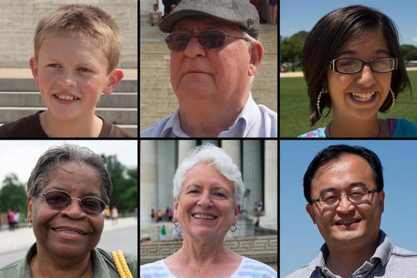 Row 1: Stewart Merriam, Logan, Utah; Darwin Danks, Watertown, N.Y.; Emaan Khan, Austin, Texas. Row 2: Mildred Cobbinah, Kansas City, Mo.; Jean Hebert, Chippewa Falls, Wis.; Ted Cai of Houston.