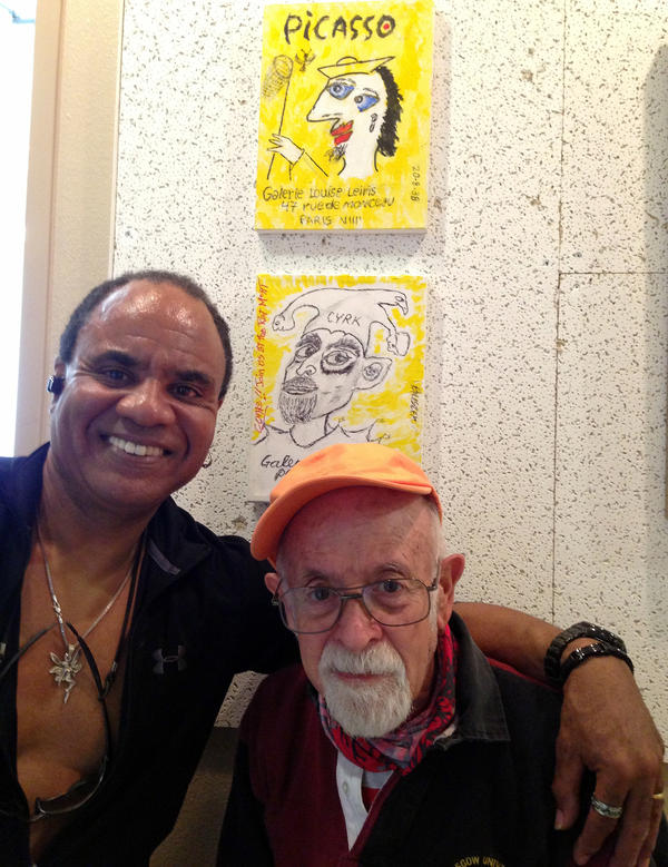 Buster Sussman, 86, shown with his art instructor, Randall Williams, is a former real estate reporter who only recently started painting. His  paintings were on display at the Burbank Senior Artists Colony.