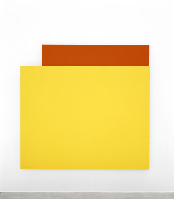 Ellsworth Kelly, <em>Yellow Relief over Red,</em> 2004. Oil on canvas, two joined panels, 80 x 83 x 2 3/4 inches. Private collection.