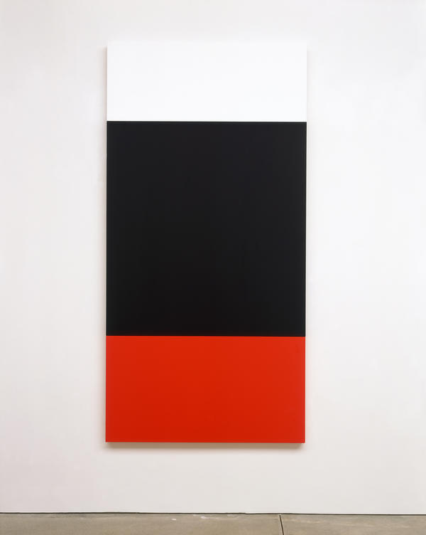 Ellsworth Kelly, <em>White Black Red,</em> 2004. Oil on canvas, three joined panels, 81 3/8 x 40 1/2 inches. Private collection.