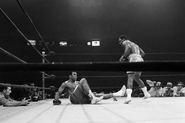 Ali lies on his back with Joe Frazier, the heavyweight champion, standing over him after a 15th-round punch by Frazier dropped him in New York, March 8, 1971. Frazier retained his title with a unanimous decision over Ali.