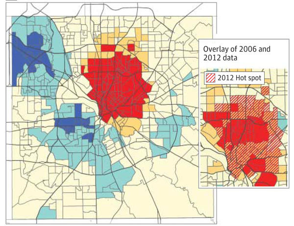 People living in affluent neighborhoods in north central Dallas were most likely to get infected in 2012. Those neighborhoods were also hit hardest in the 2006 outbreak.